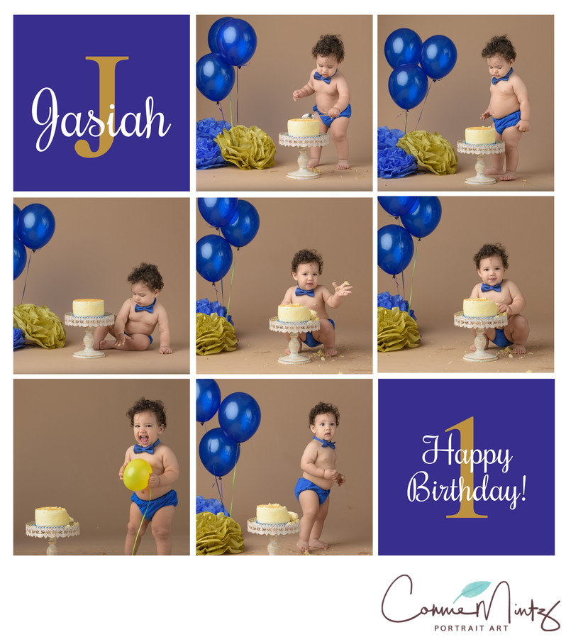Josiah Cake Smash Collage