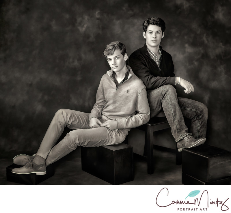 Brothers in Black and White Vancouver WA Photography-
