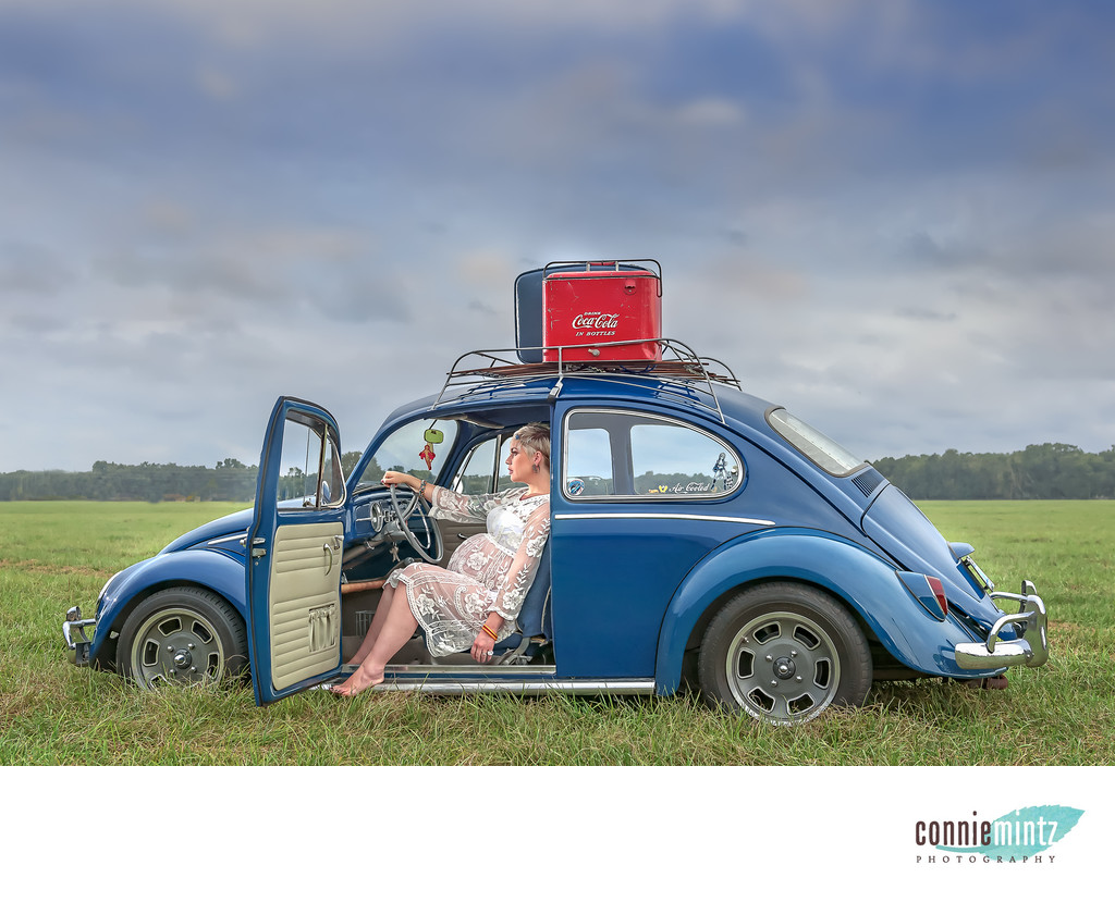 Maternity session with a VW Bug