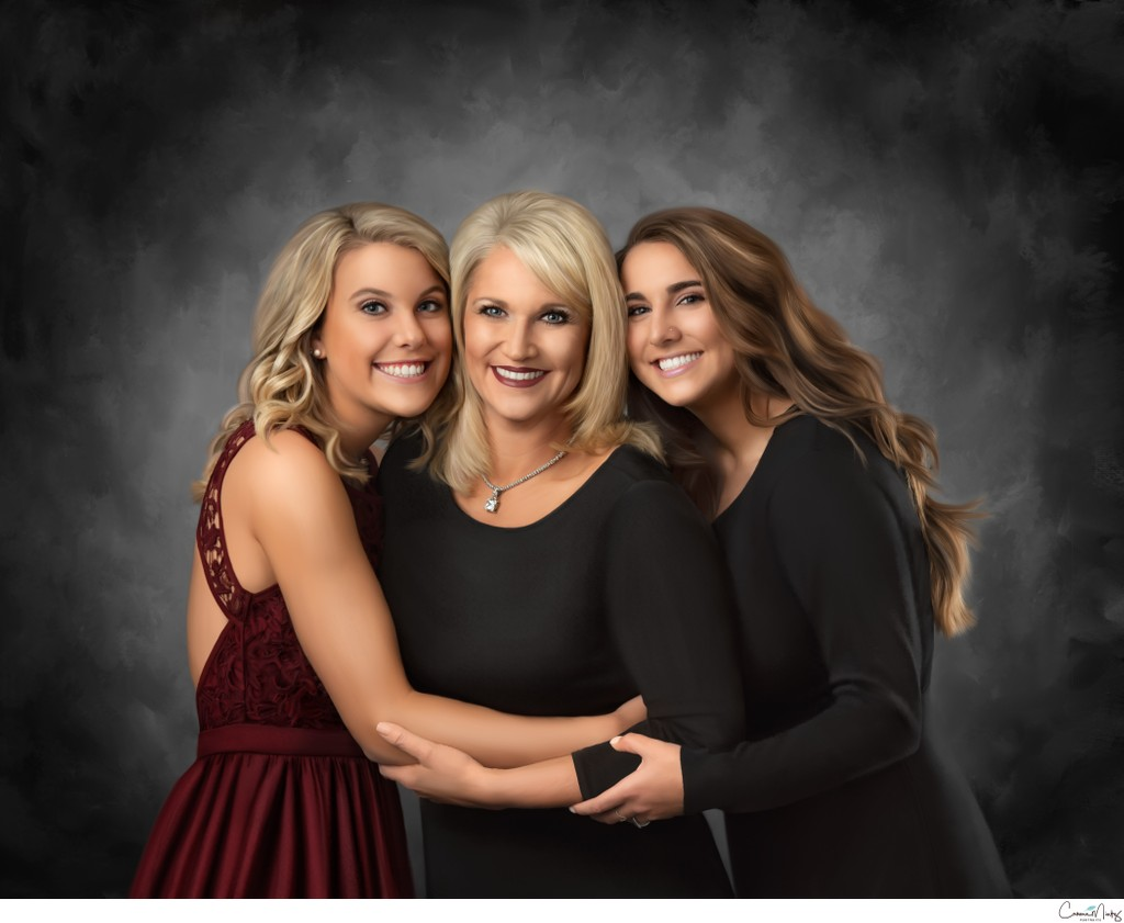 Vancouver WA Photographer- Painted Portrait mother and daughters