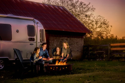 Airstream and fire in the outdoors