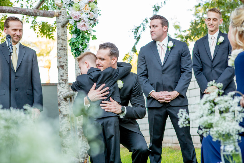 Groom and son backyard Phoenix Wedding Photographer