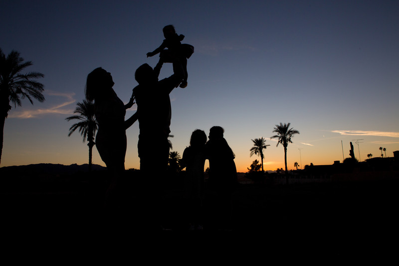 Silhouette Family Palm Trees Lake Havasu Photographer