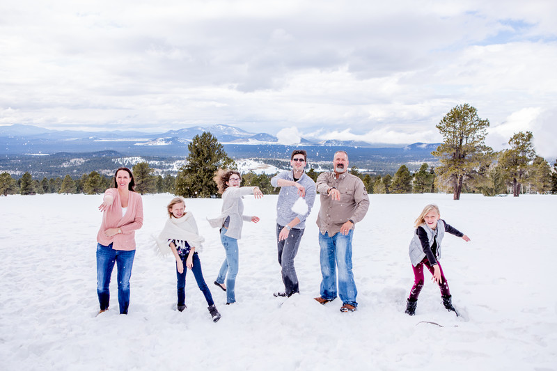 Family in Snow Portrait Session Flagstaff Photographer