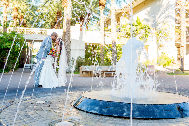 Fountain at AZ Grand Phoenix Wedding Photographer
