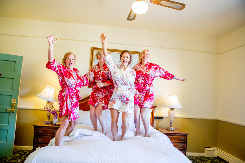 Bridesmaids jumping bed Phoenix Wedding Photographer