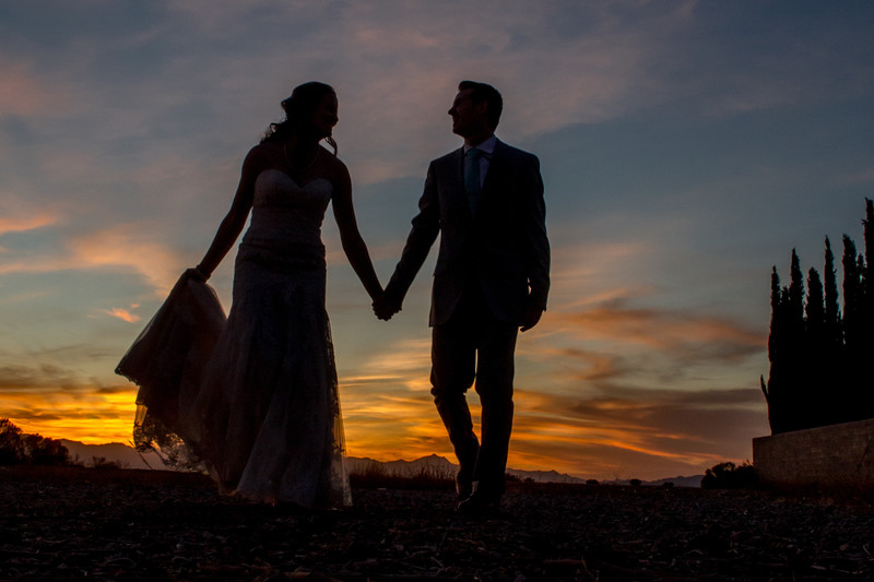 Bride and Groom at Sunset Phoenix Wedding Photographer