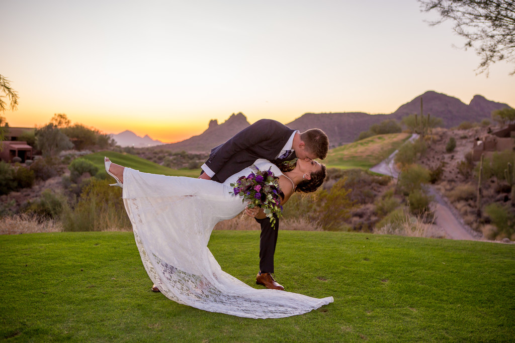 Dip, Kiss at sunset Phoenix Wedding Photographer