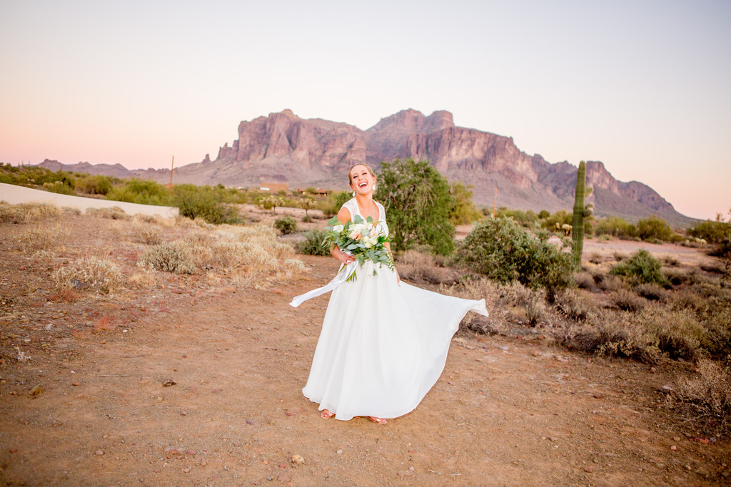 Bride Dancing in desert Phoenix Wedding Photographer