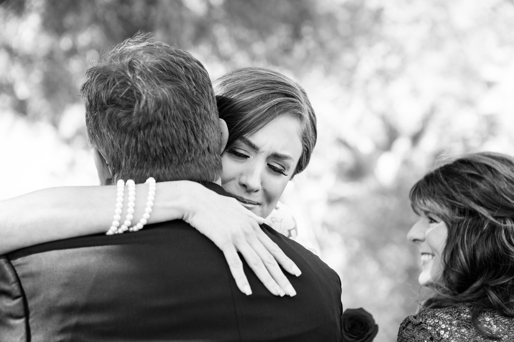 Bride hugging father Phoenix Wedding Photographer