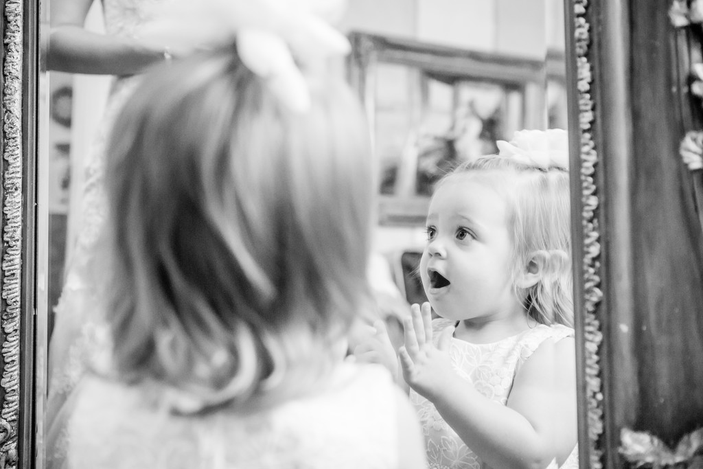 Flower girl seeing bride Phoenix wedding photographer