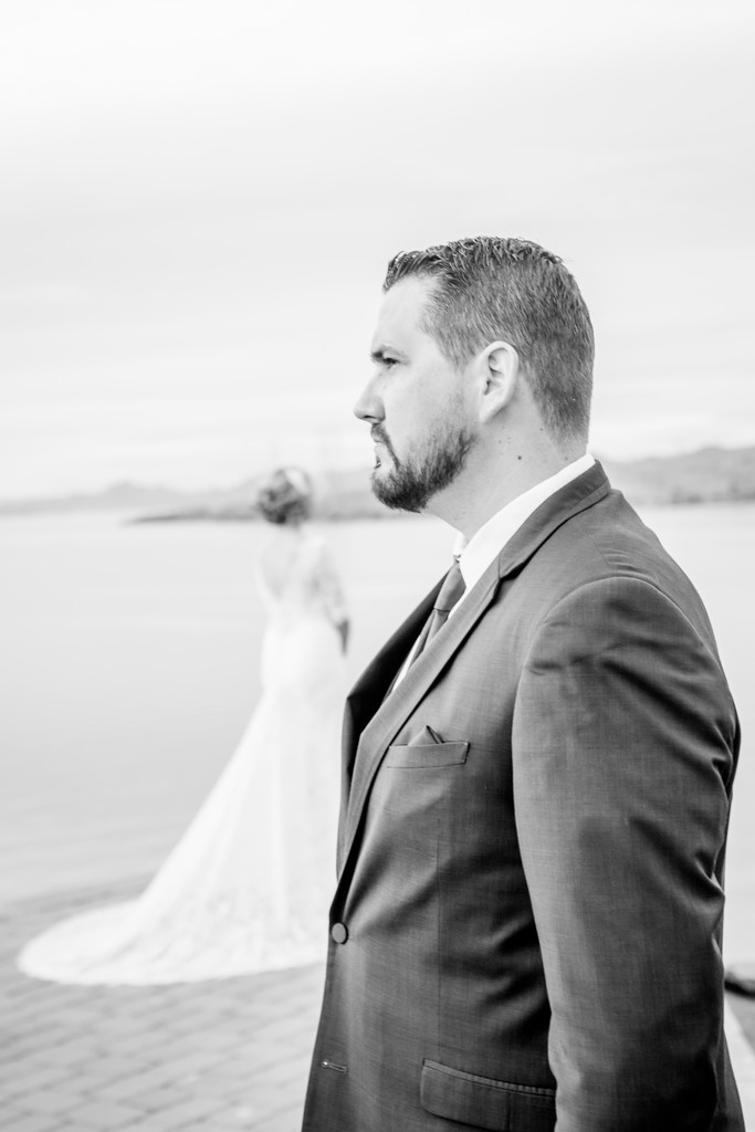 Groom and Bride The Pointe Phoenix Wedding Photographer