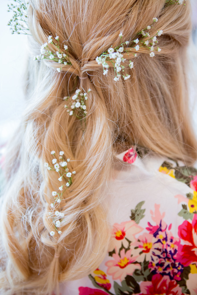Bridal Hair Baby's Breath Phoenix Wedding Photographer