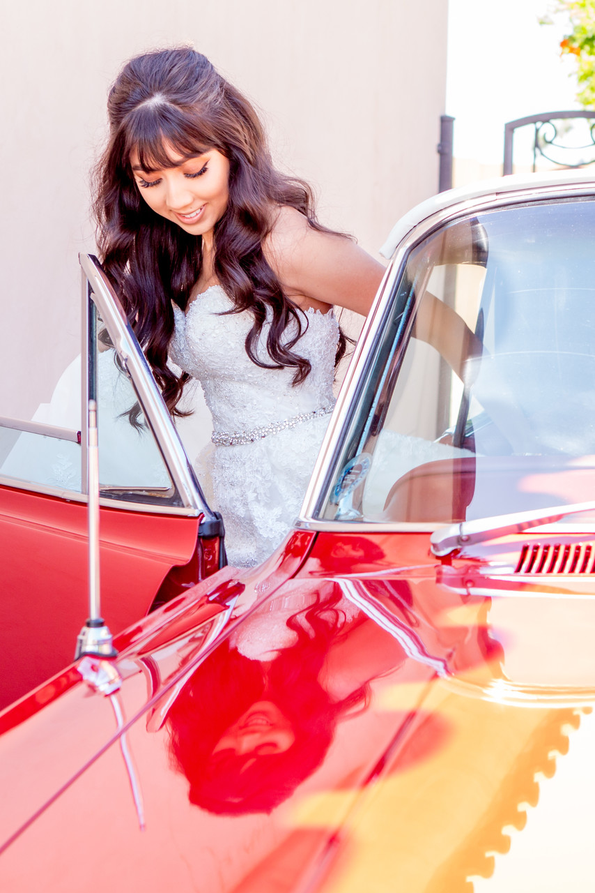 Bride in red sports car Phoenix Wedding Photographer