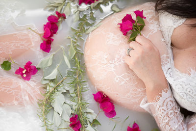 Milk Bath Maternity Portrait, Phoenix Photographer