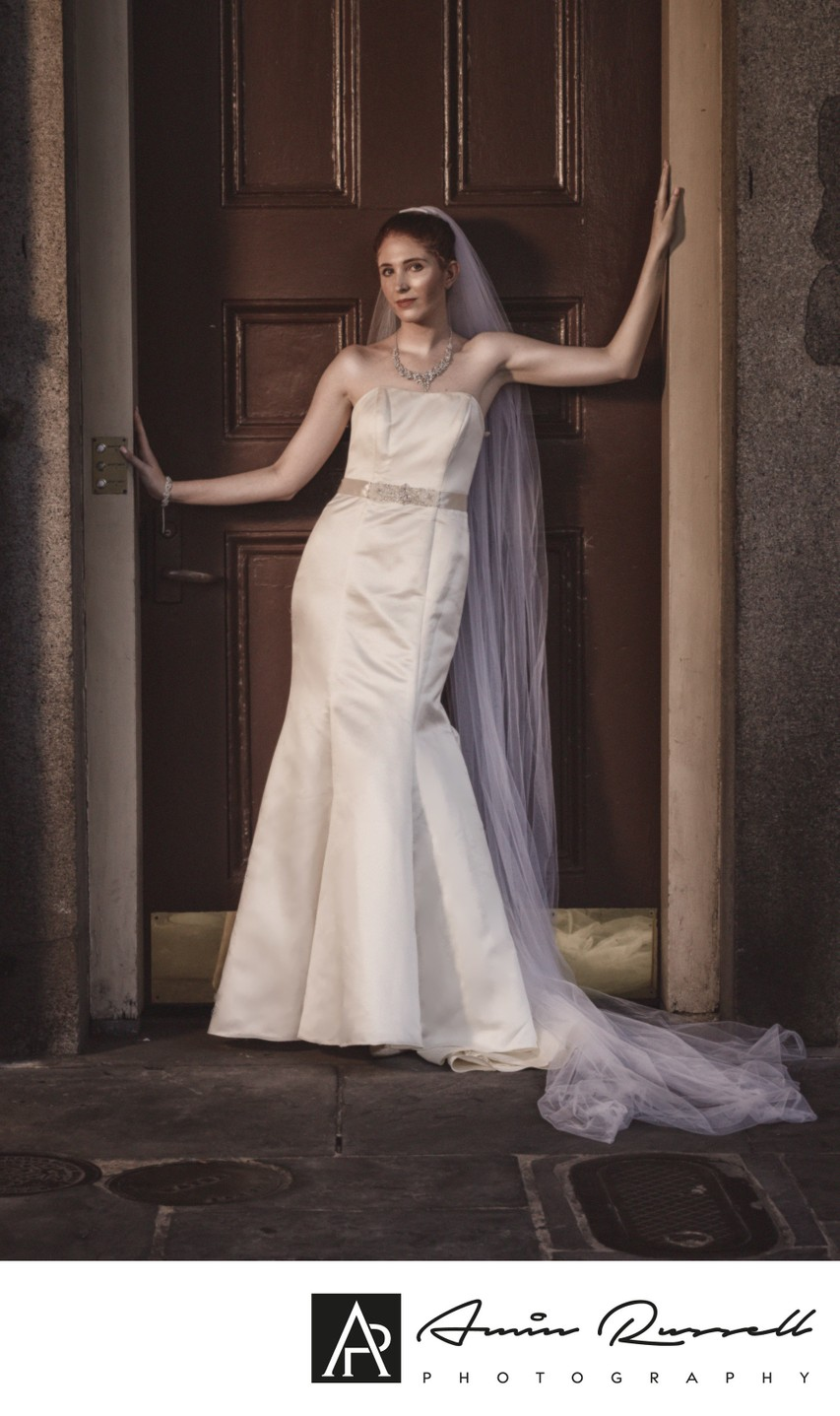 Just a bride and a French Quarter Door