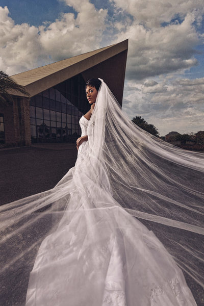 Dramatic bridal portrait at City Church