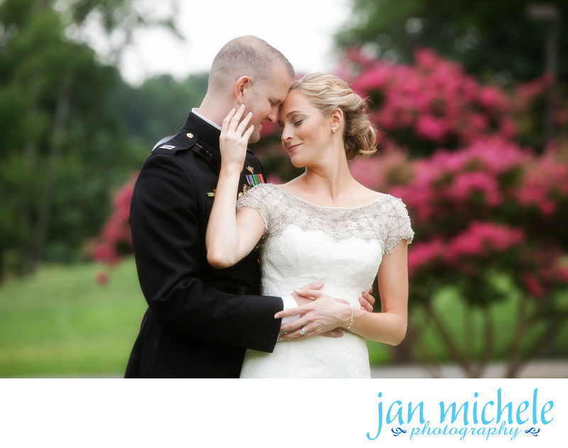 Sweet bride and groom moment at Army Navy Country Club