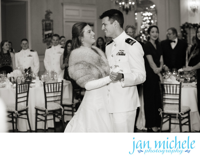 Dress whites long white gloves - winter wedding first dance