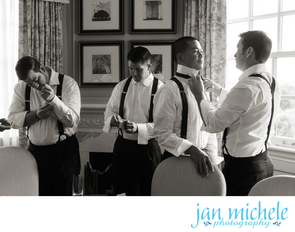 Groomsmen getting ready at the Hay Adams Hotel