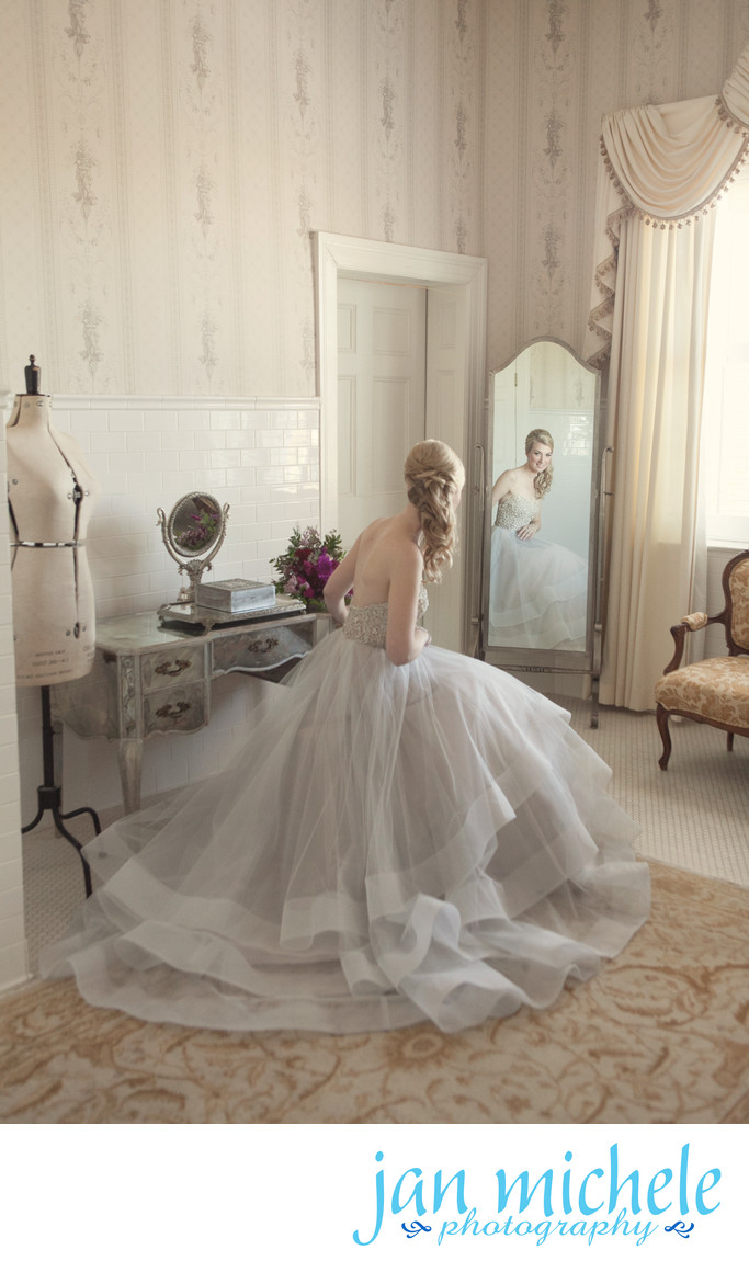 Bridal Portrait in vintage dressing room with silver mirror