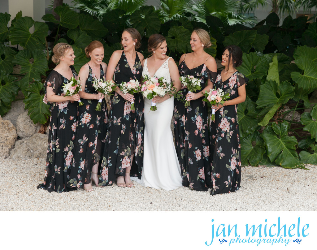 Key Largo Wedding - bridesmaids in floral gowns