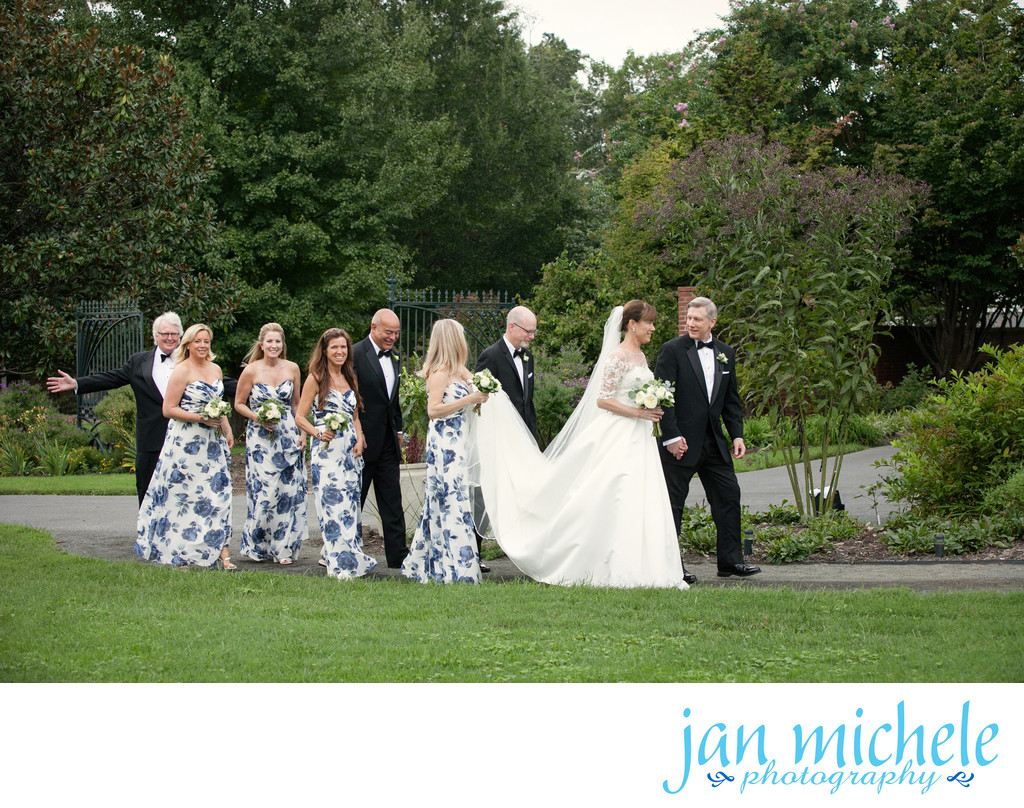 Floral bridesmaids dresses in River Farm Garden Wedding Pictures