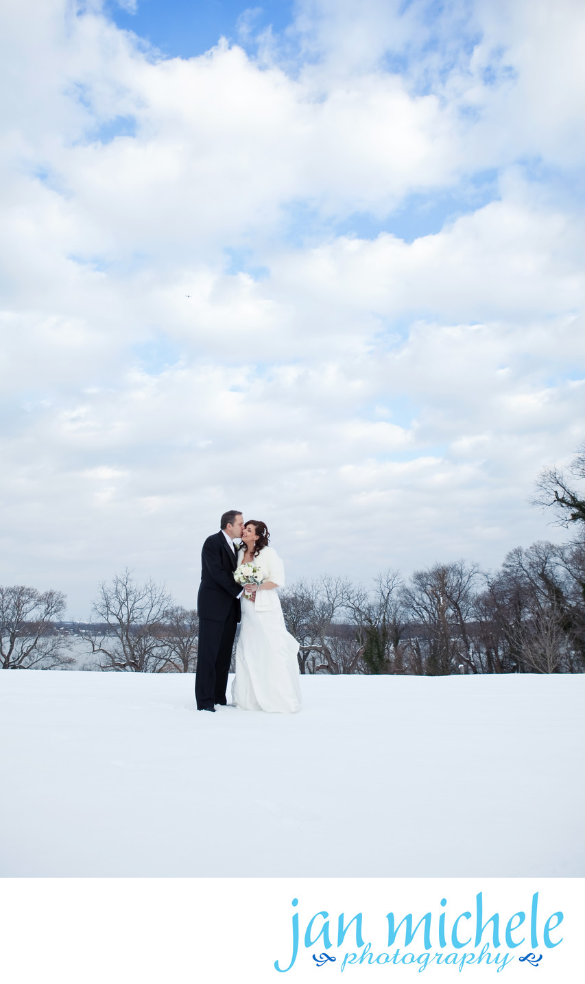Blue sky and Snow on a wedding day!
