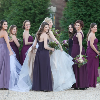 Bridesmaids wear violet, plum, purple dresses - Belmont Country Club