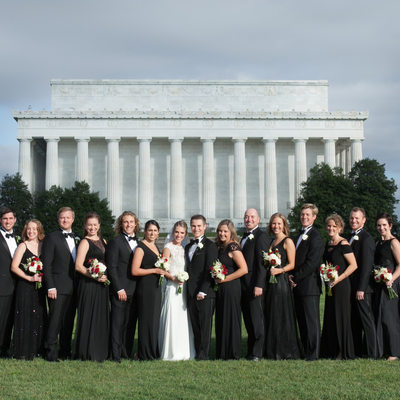 Wedding Part with the Lincoln Memorial in Washington, DC