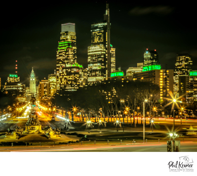 Philadelphia Art Museum Skyline During Eagles Super Bowl LII
