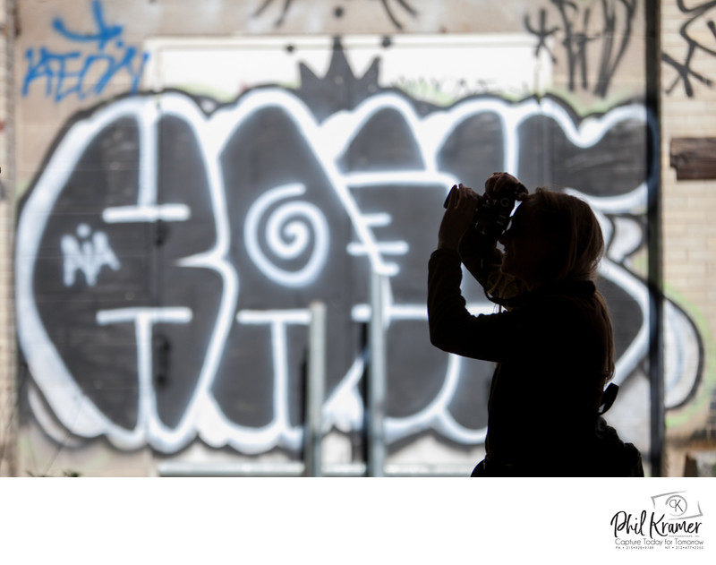 Phil Kramer Photo Excursion Silhouette of Camera and Graffiti