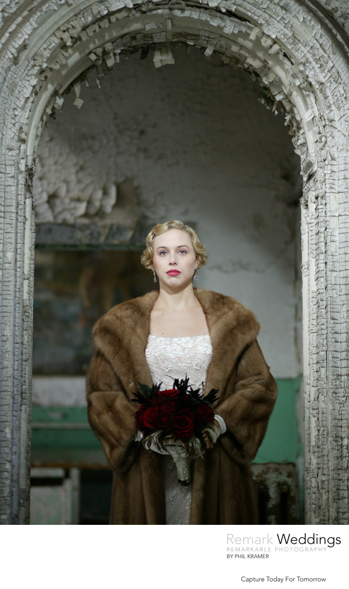Bridal Fashion in a Brown Fur Coat at Eastern State Penitentiary
