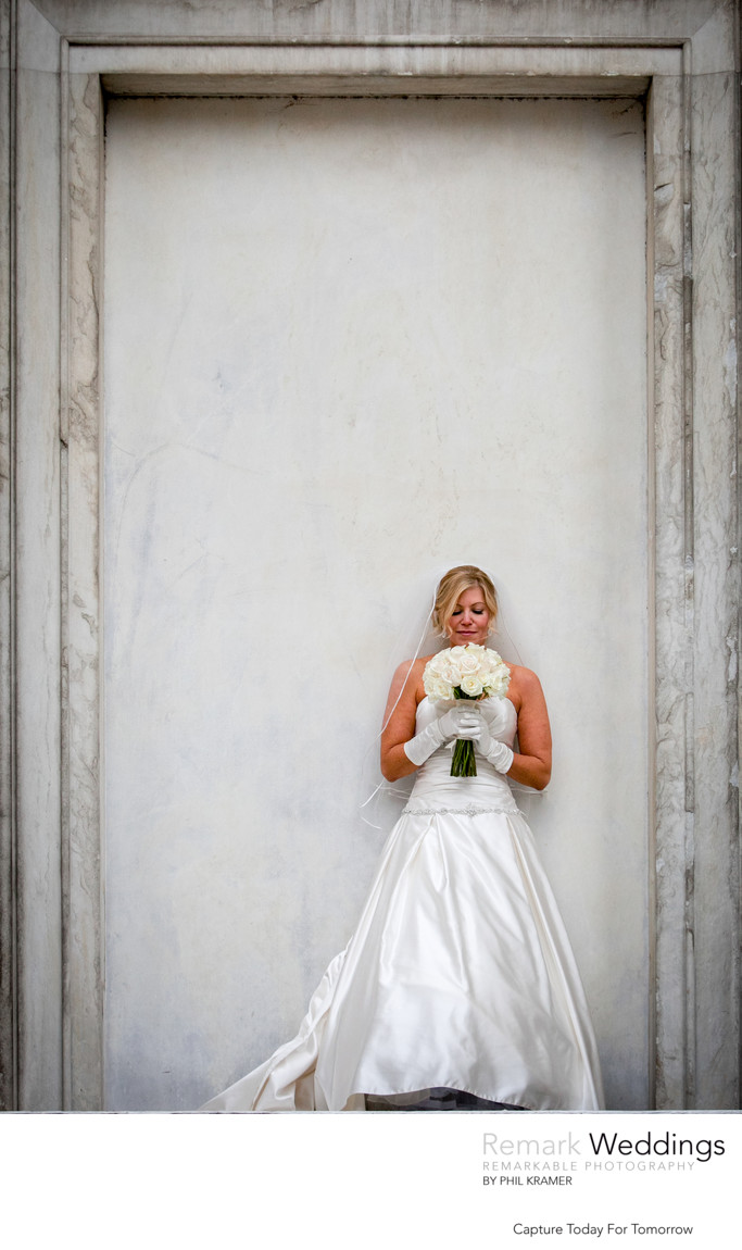 Bride On White Concrete Wall at Second Bank of the United States