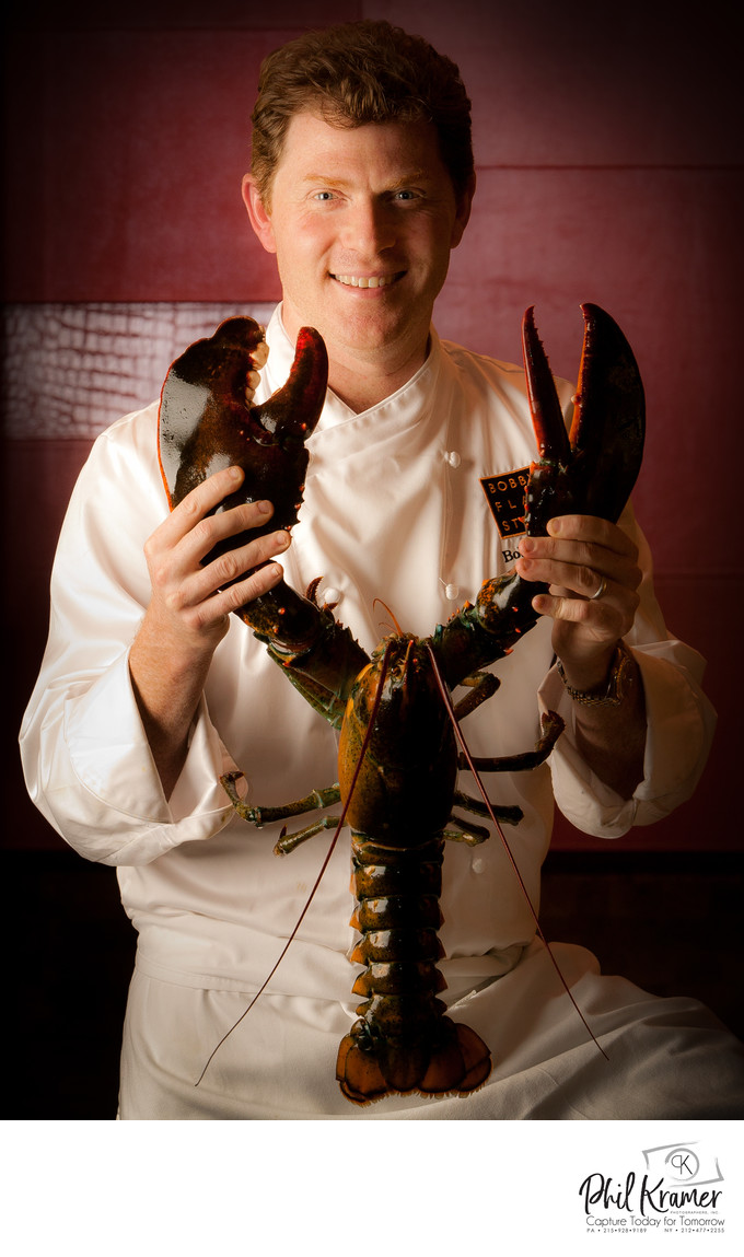 Celebrity Chef Bobby Flay With Lobster In Atlantic City