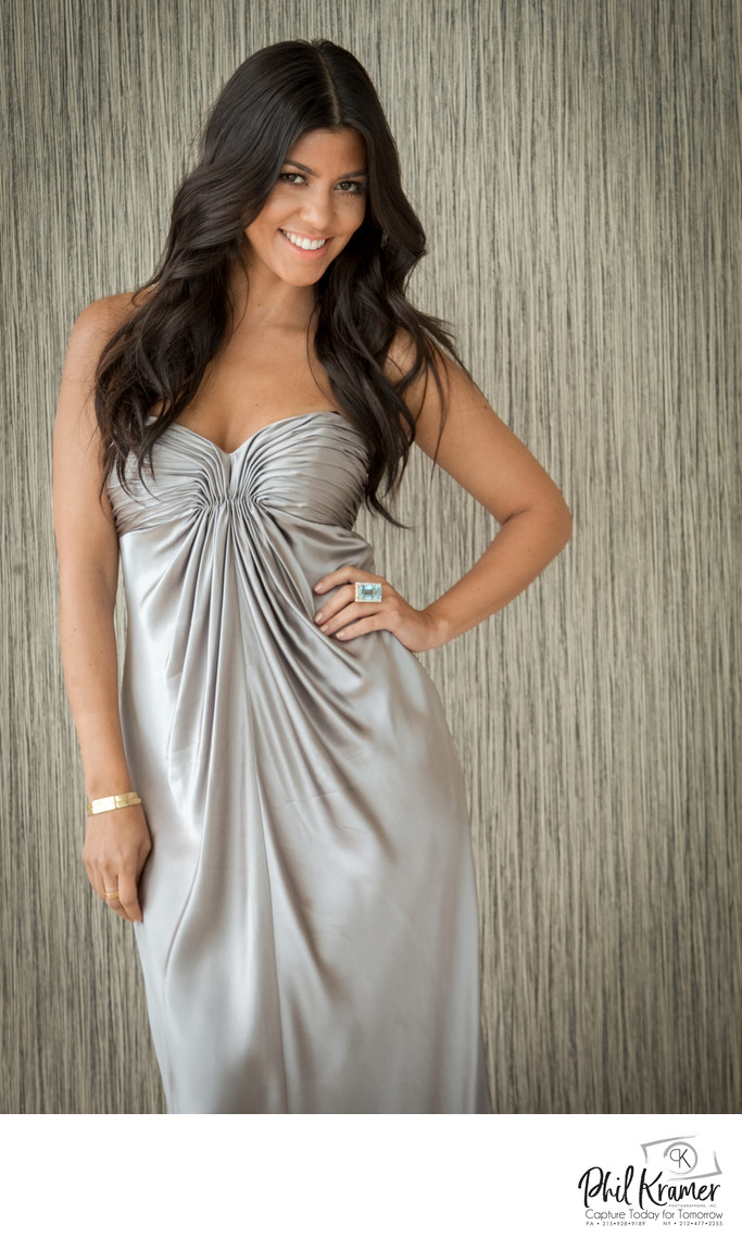 Kourtney Kardashian Wearing Grey Dress | Photography by Phil Kramer