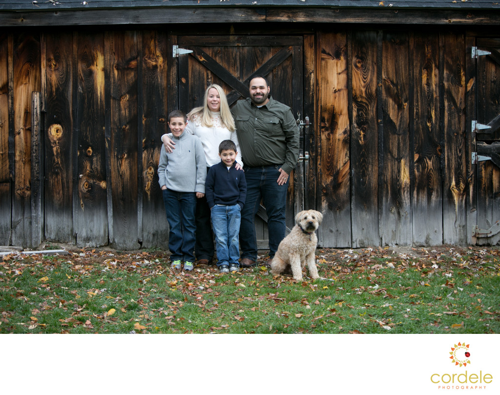family photos with dogs in Boston Massachusetts
