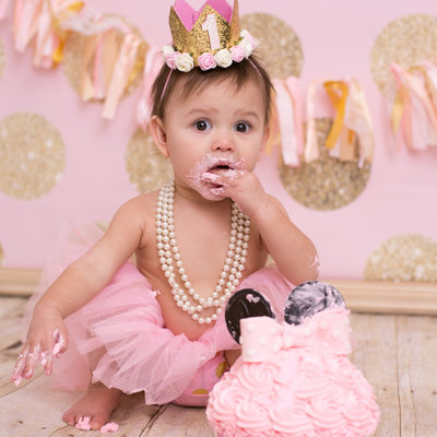 Pink and Gold First Birthday Cake Smash