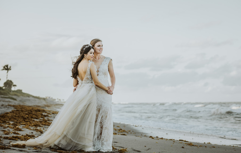 Same-sex LGTBQ Beach wedding: Miami Wedding photographer