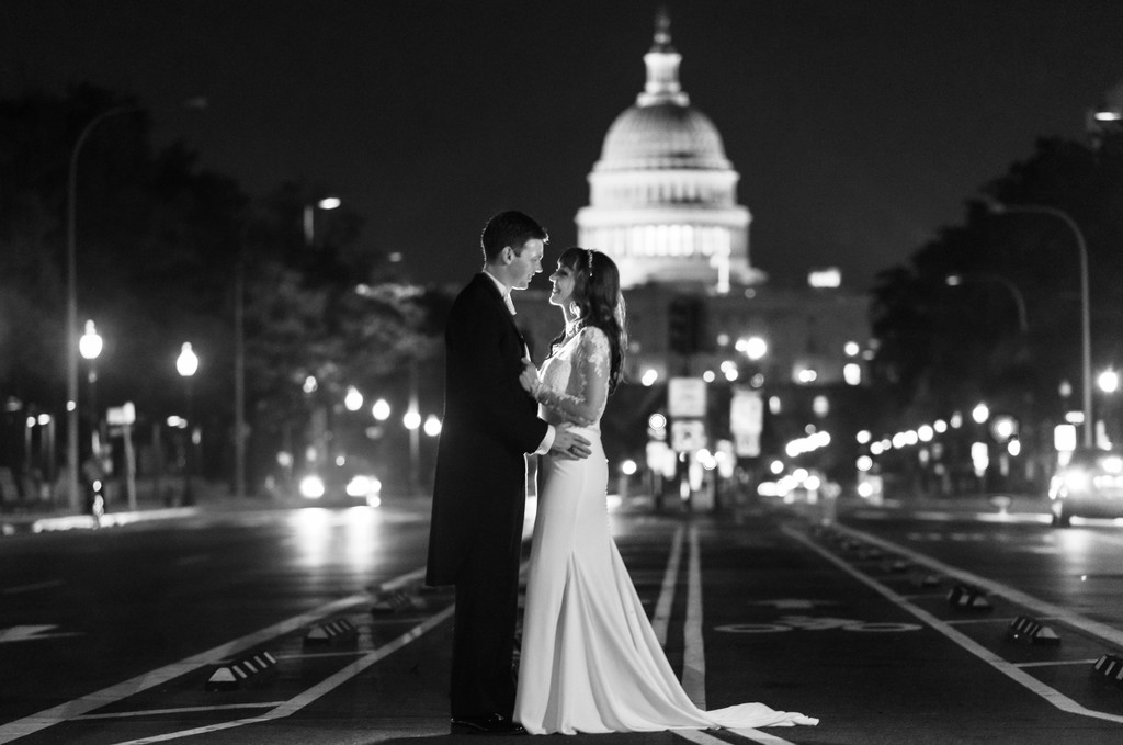 Nighttime wedding photography at Washington DC Monuments Night