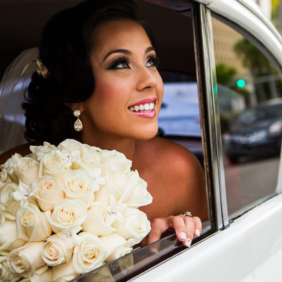 Wedding Bride Photo Antique Car Miami Florida