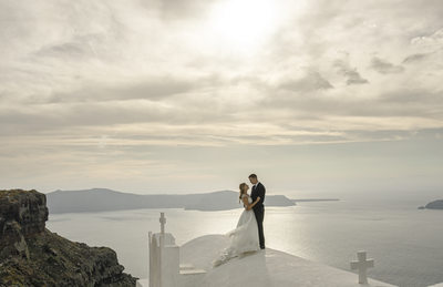 Destination wedding photography at Santorini Greece