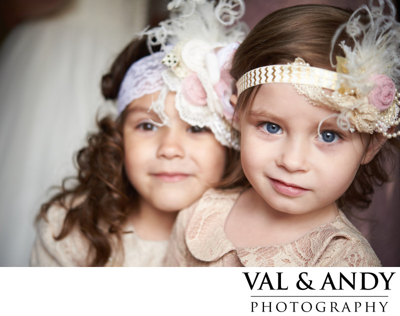 vintage dressed flower girls looking cute