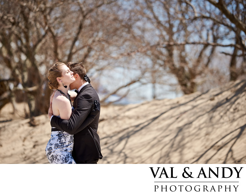Wedding couple embrace at North Beach Chicago Downtown