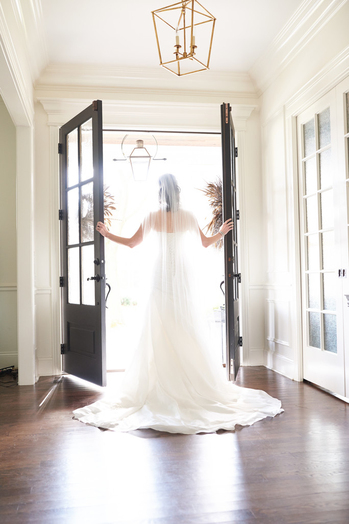 Chicago wedding photography bride dress french doors