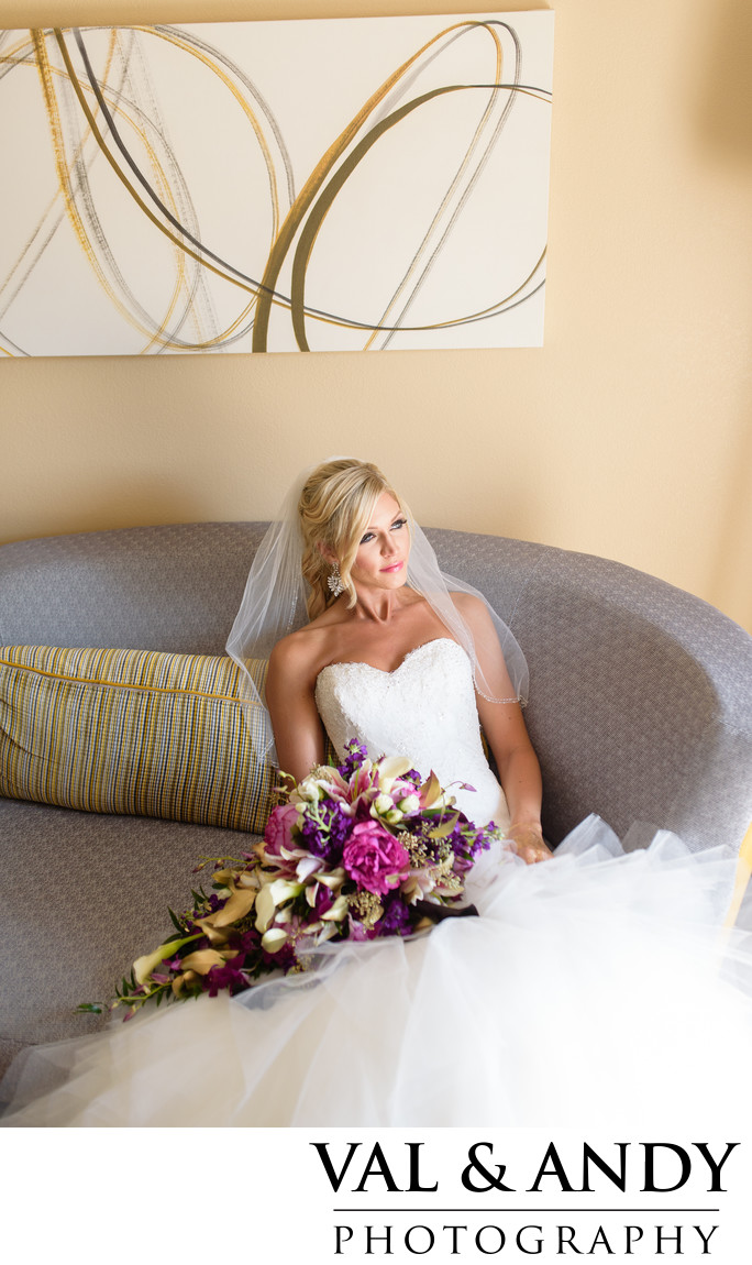 Bride on a modern couch picture