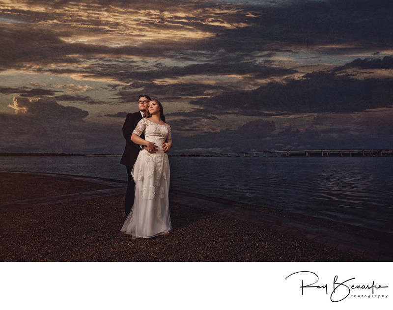 Bride and Groom in New Bern NC Union Point Park