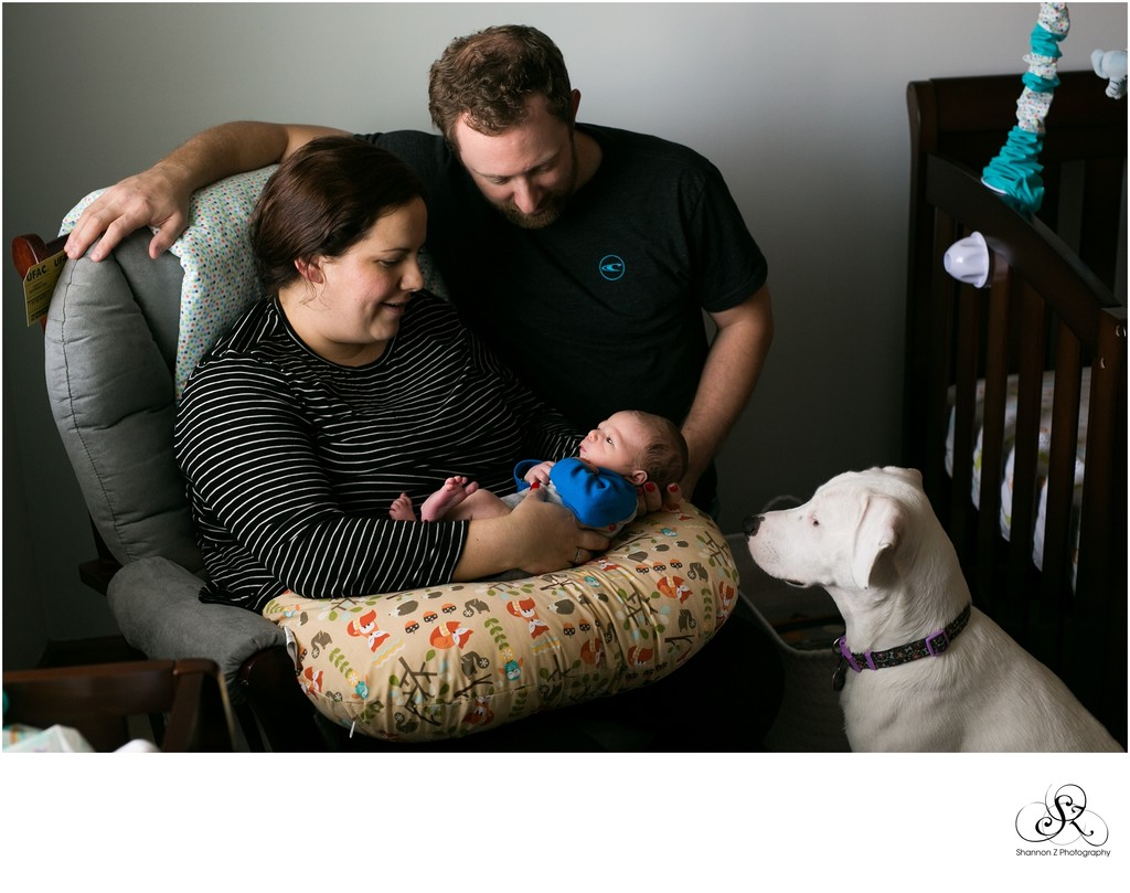 A New Member: Family  and Newborn in Home
