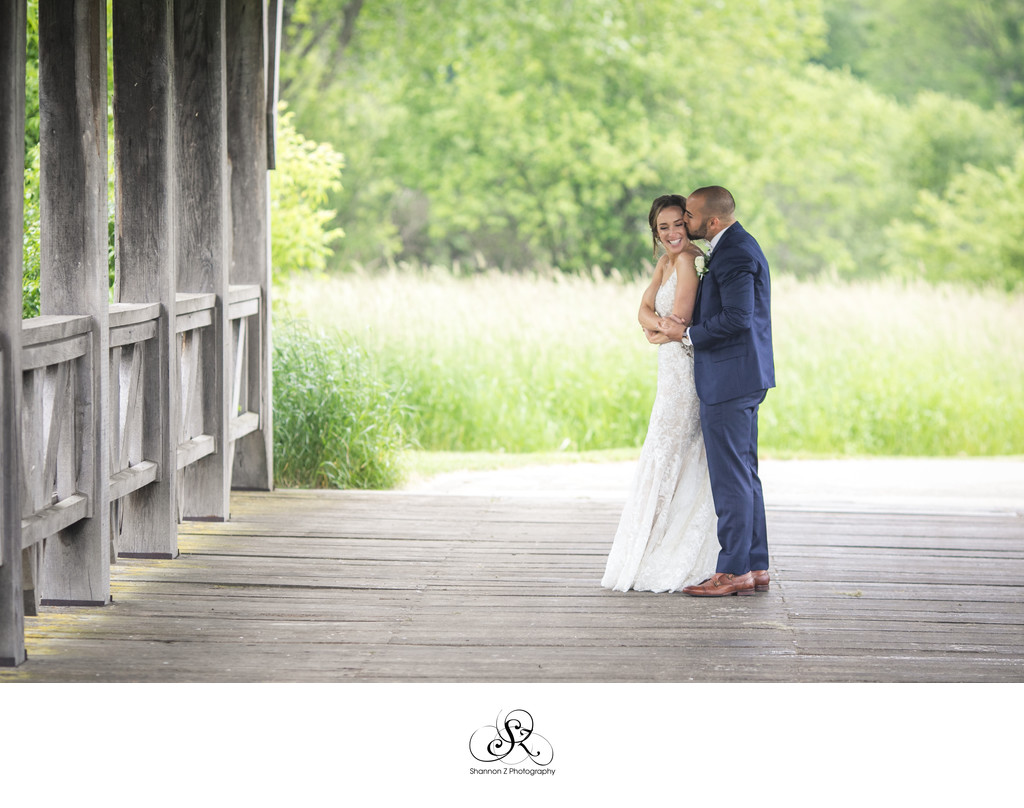 Bride and Groom: Covered Bridge