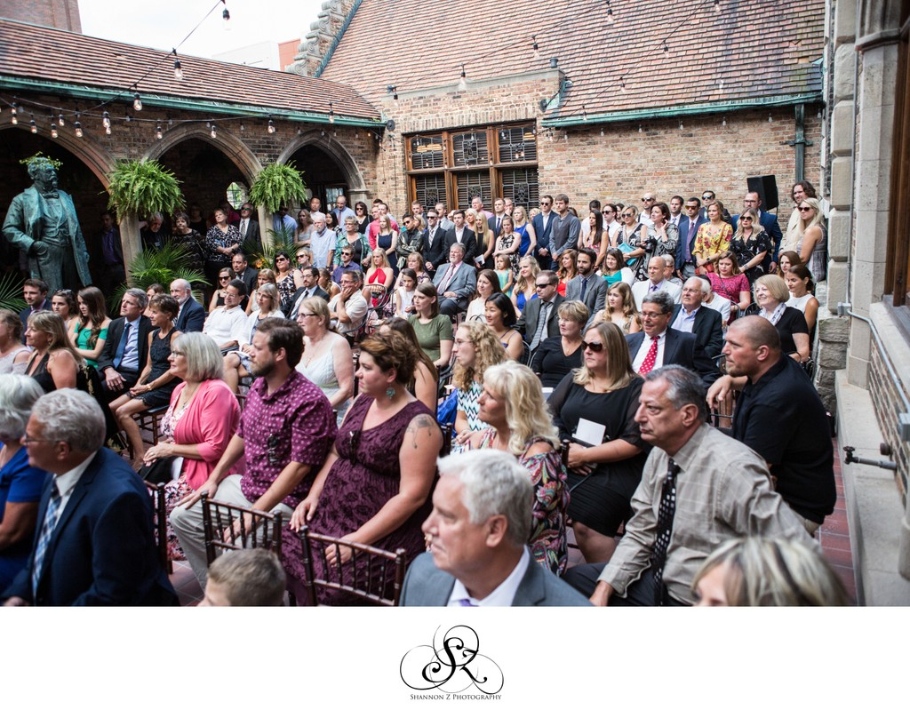 Ceremony in Courtyard: Historic Pabst Brewery Wedding